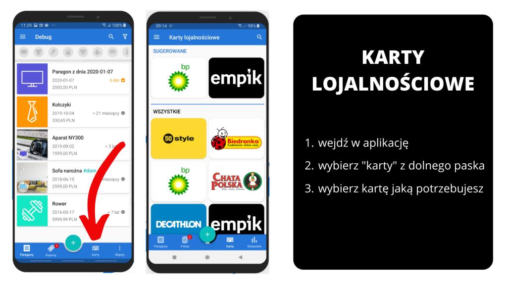 PanParagon: Karty lojalnościowe - widok na Android