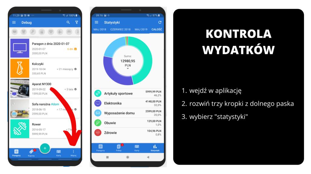 PanParagon: kontrola wydatków - widok na Android