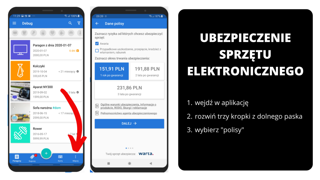 PanParagon: Ubezpieczenie sprzętu - widok na Android