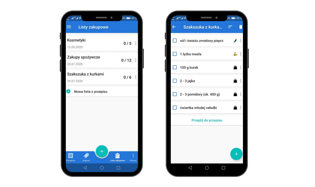 Lista zakupów z przepisu - widok na Android