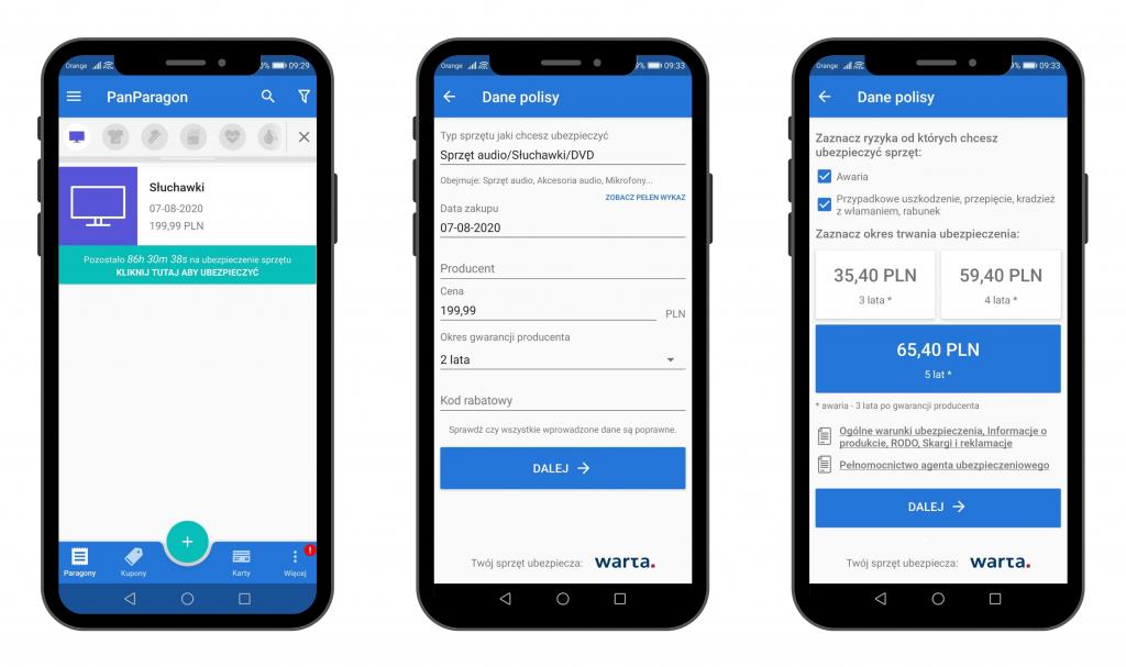 Zakup polisy w aplikacji PanParagon - widok na Android