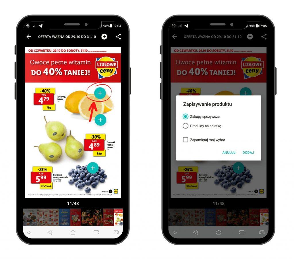PanParagon: Dodawanie produktów z gazetki do listy zakupowej - widok na Android