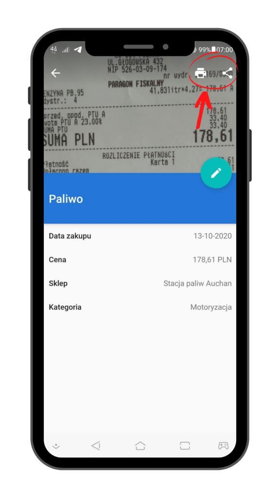 PanParagon: wydruk i udostępnianie paragonów - widok na Android