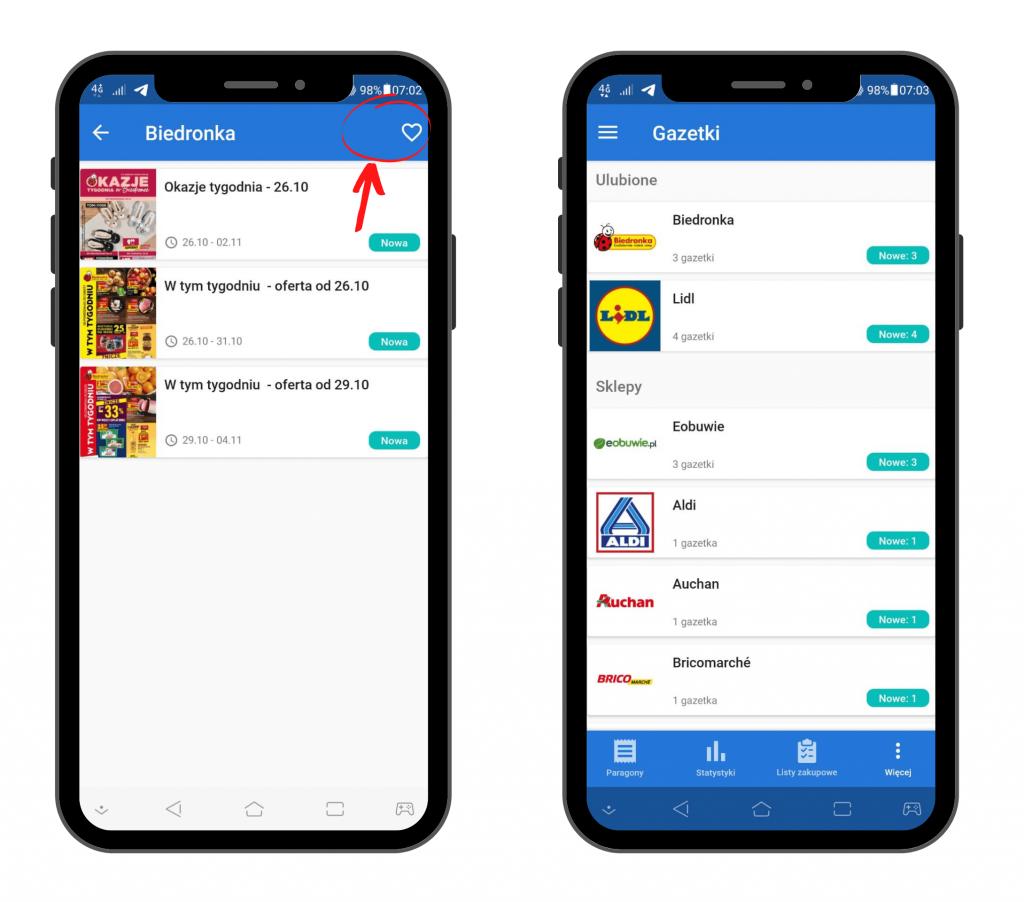 PanParagon: dodawanie gazetki do ulubionych - widok na Android